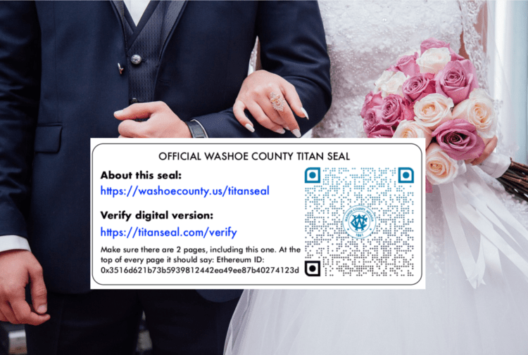 Vintage Marriage Certificate Washoe County Nevada: US State Officially Starts Using Blockchain For Marriage